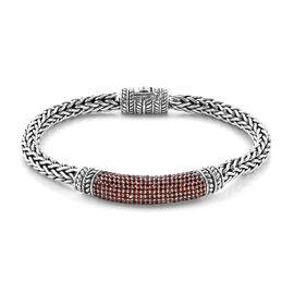 Bali Legacy 3.09 Ct Mozambique Garnet Tulang Naga Bracelet in Sterling Silver 33.40 Grams 6.5 Inch