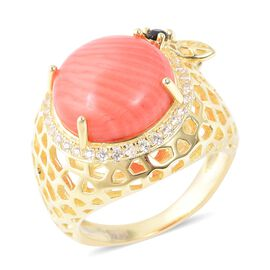 8.38 Ct Living Coral and Multi gemstone Halo Ring in Gold Plated Sterling Silver 6.63 Grams