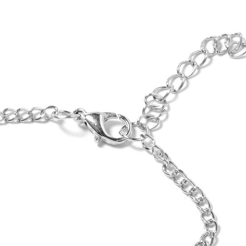 Designer Inspired- Long Dynamic Necklace (Size 18 with 2.50 inch Extender) with ChainTassels and Charm in Silver Plated