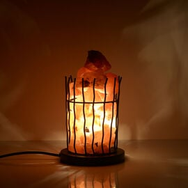 Natural Pink Himalayan Rock Salt Basket Lamp - With 1.6KG Salt Bag - Round