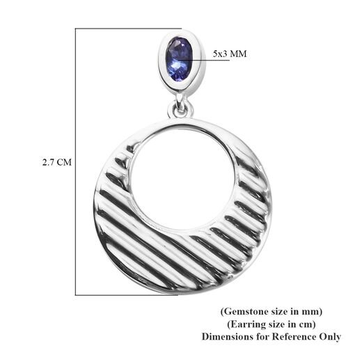 AAA Tanzanite Dangle Earrings (with Push Back) in Platinum Overlay Sterling Silver
