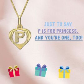 Children Diamond Cut P Initial Heart Pendant in 9K Yellow Gold