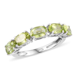 Hebei Peridot (Ovl) Five Stone Ring in Platinum Overlay Sterling Silver 2.25 Ct.