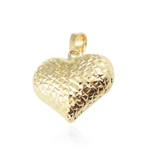 Vicenza Diamond Cut Heart Pendant in 9K Yellow Gold