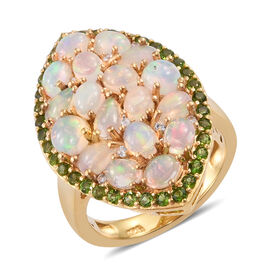 3 Ct Ethiopian Opal, Russian Diopside and Cambodian Zircon Cluster Ring in Gold Plated Silver