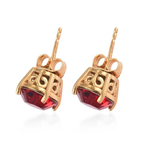 J Francis - Crystal from Swarovski Ruby Crystal Stud Earrings (with Push Back) in 14K Gold Overlay Sterling Silver