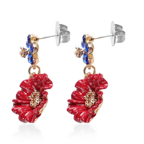 TJC Poppy Design - Simulated Blue Sapphire and White Austrian Crystal Enamelled Dangle Poppy Earrings (with Push Back) in Gold Plated