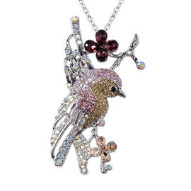 Multi Colour Austrian Crystal and Simulated Amethyst Hummingbird Brooch or Pendant With Chain (Size