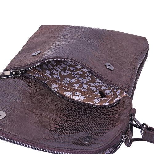 100% Genuine Leather Lizard Skin Pattern Crossbody Bag with Adjustable Strap (Size 24x3x24 Cm) -  Coffee