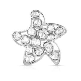 GP Polki Diamond and Kanchanaburi Blue Sapphire Ring in Platinum Overlay Sterling Silver 1.01 Ct