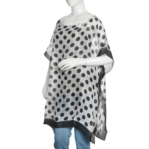 100% Mulberry Silk Black, Grey and Off White Colour Handscreen Polka Dots Printed Kaftan (Free Size)