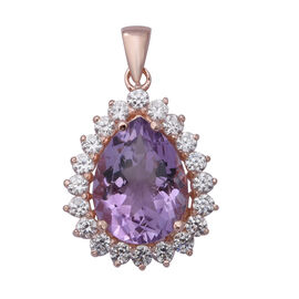 Rose De France Amethyst (Pear 7.67 Ct), Natural White Cambodian Zircon Pendant  Rose Gold Overlay St
