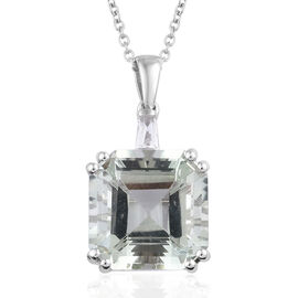 15.75 Ct Brazilian Green Amethyst and Topaz Solitaire Pendant with Chain in Sterling Silver 6.89 Gms