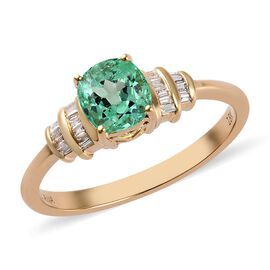 ILIANA 1.40 Ct AAA Boyaca Colombian Emerald and Diamond Solitaire Ring in 18K Gold SI GH