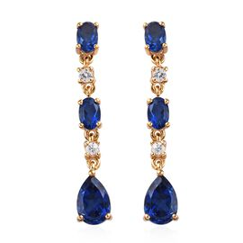 5.75 Ct Minas Gerais Twilight Quartz and Zircon Dangle Earrings in Gold Plated Silver