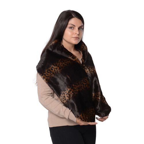 Leopard Pattern Faux Fur Winter Wrap (Size 27.5x150 Cm) - Black and Brown
