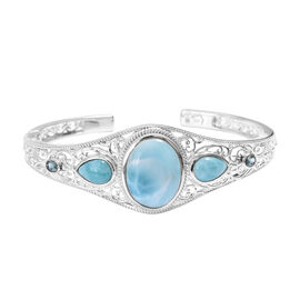 Larimar (Ovl 20x15 mm), Electric Blue Topaz Bangle (Size 7.5) in Sterling Silver 22.120 Ct, Silver wt 22.66 Gms