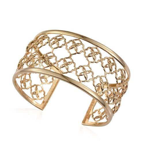 Kimberley Crimson Spice Collection 14K Gold Overlay Sterling Silver Cuff Bangle (Size 7.5), Silver wt 19.00 Gms.