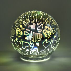 Home Decor - Silver Colour 3D Glass Multicolour LED Lamp (Size 12x12 Cm) - Love Heart (3xAAA Battery