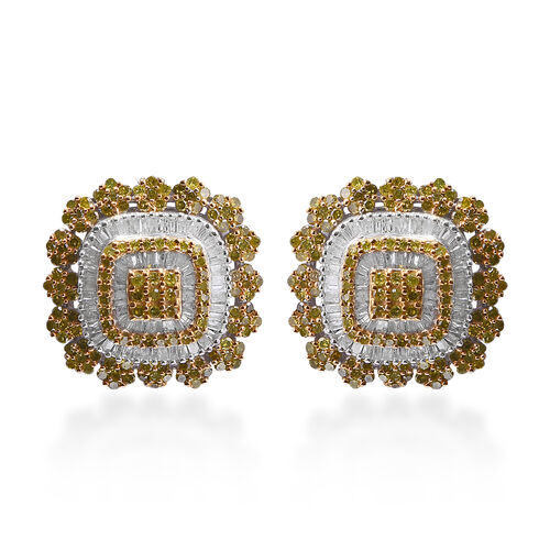 Yellow Diamond (Rnd), Diamond Earrings (with Push Back) in Platinum and Yellow Gold Overlay Sterling
