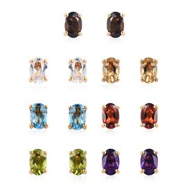 Set of 7  - Blue Topaz (Ovl), Multi Gemstone Stud Earrings (with Push Back) in 14K Gold Overlay Ster