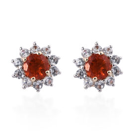 9K Yellow Gold Jalisco Fire Opal (Rnd), Natural Cambodian Zircon  Earrings (with Push Back) 1.650 Ct
