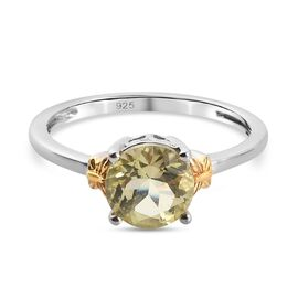 Lemon Quartz Solitaire Ring in Platinum and Yellow Gold Overlay Sterling Silver 1.12 Ct.