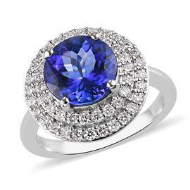 RHAPSODY 950 Platinum Tanzanite and Diamond Ring 4.65 Ct, Platinum Wt. 7.42 Gms