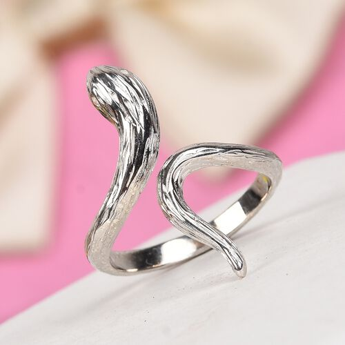 Platinum Overlay Sterling Silver Serpentine Ring