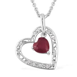RACHEL GALLEY 2.85 Ct Ruby Heart Pendant with Chain in Sterling Silver 10.65 Grams