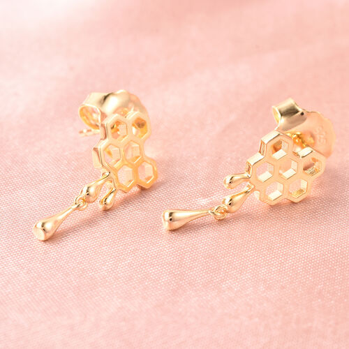 LucyQ Yellow Gold Overlay Sterling Silver Honeycomb Drop Dangle Earrings (with Push Back)