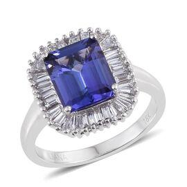 ILIANA 18K W Gold AAA Tanzanite (Oct 3.00 Ct), Diamond (SI G-H) Ring 3.750 Ct.