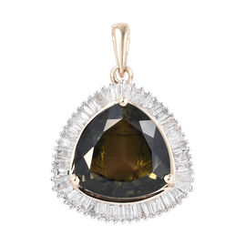 14K Yellow Gold AAA Green Tourmaline (Trl), Diamond Pendant 7.300 Ct.