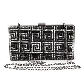 Fret Pattern Crystal Studded Clutch Bag with Detachable Strap and Toggle Clip (Size 21.5x11.5x4.5 Cm