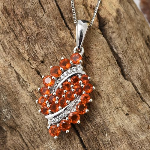 WEBEX- Jalisco Fire Opal (Rnd), Natural Cambodian Zircon Bubbales Pendant with Chain (Size 20) in Platinum Overlay Sterling Silver 1.25 Ct.