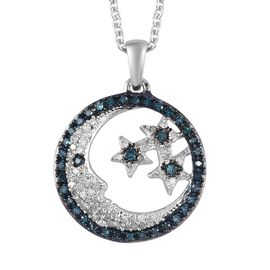 GP - Blue and White Diamond, Blue Sapphire Moon and Stars Pendant with Chain in Platinum Overlay Ste