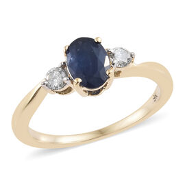 9K Yellow Gold AA Kanchanaburi Blue Sapphire (Ovl), Diamond Ring  1.150 Ct.