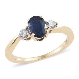 9K Yellow Gold AA Kanchanaburi Blue Sapphire (Ovl), Diamond Ring  1.150 Ct.