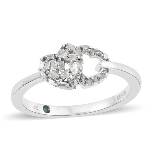 GP Diamond (Bgt and Rnd), Kanchanaburi Blue Sapphire Heart Ring in Platinum Overlay Sterling Silver 0.270 Ct.