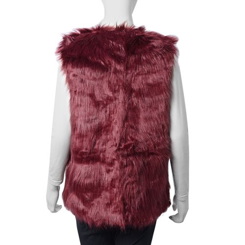 Wine Colour Faux Fur Gilet  (One Size Fits all)