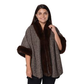 Boucle Blanket Wrap with Faux Fur On Collar and Sleeves (Free Size/L-75 Cm) - Boucle Brown