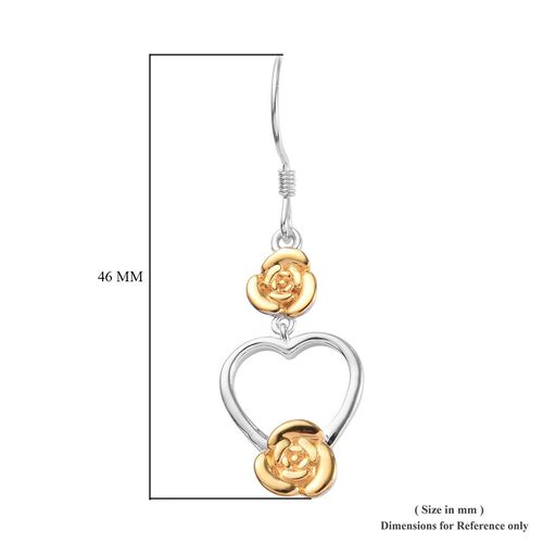 Platinum and Yellow Gold Overlay Sterling Silver Heart and Flower Hook Earrings, Silver wt 5.20 Gms