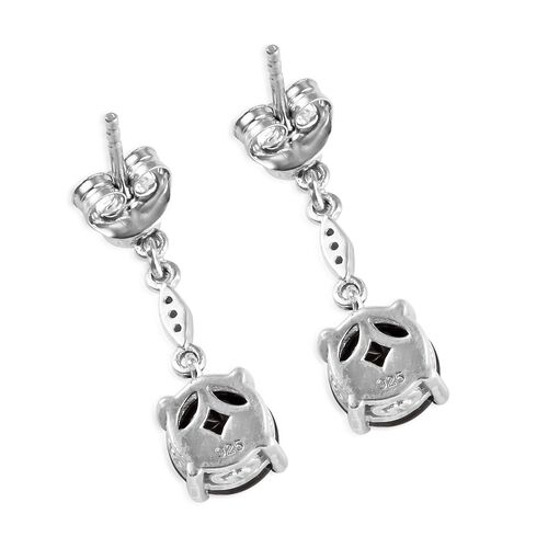 Elite Shungite (Rnd), Natural Cambodian Zircon Earrings (with Push Back) in Platinum Overlay Sterling Silver 1.950 Ct.