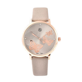 STRADA Japanese Movement Butterfly Pattern Dial Gold Tone Case White Austrian Crystal Studded Water
