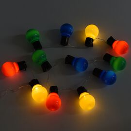 12 Globe LED Light String of Colourful Bulbs (Length 160 Cm) - Red, Green, Yellow and Blue