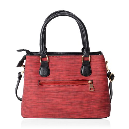 Hong Kong Collection Ture Red Embroidery Bee Design Tote Bag with Removable Shoulder Strap (Size 29x21x12.5 Cm)