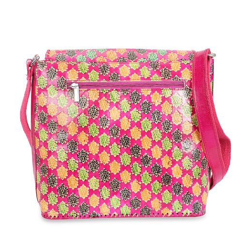 SUKRITI 100% Genuine Leather Floral Pattern Crossbody Bag (Size 28x33x11 Cm) - Fuchsia