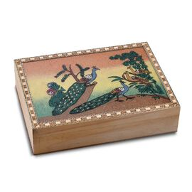 Wooden Jewellery Box with Hand-painted Gemstone Peacock (Size 20.3x15.2x5 Cm) with Red Velvet Lining