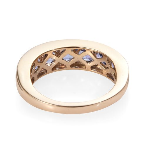 9K Yellow Gold Tanzanite (Rnd) Seven Stone Band Ring 2.10 Ct.