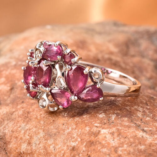 RACHEL GALLEY Misto Collection - African Ruby Lattice Ring in Rhodium Overlay Sterling Silver 3.00 Ct.